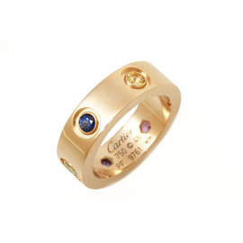 Cartier Love 750 Rose Gold with Multi Stone Ring Size 3.5