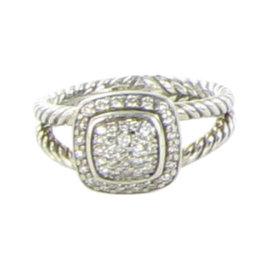 David Yurman Petite Albion 925 Sterling Silver & 0.29ct. Diamond Ring Size 6