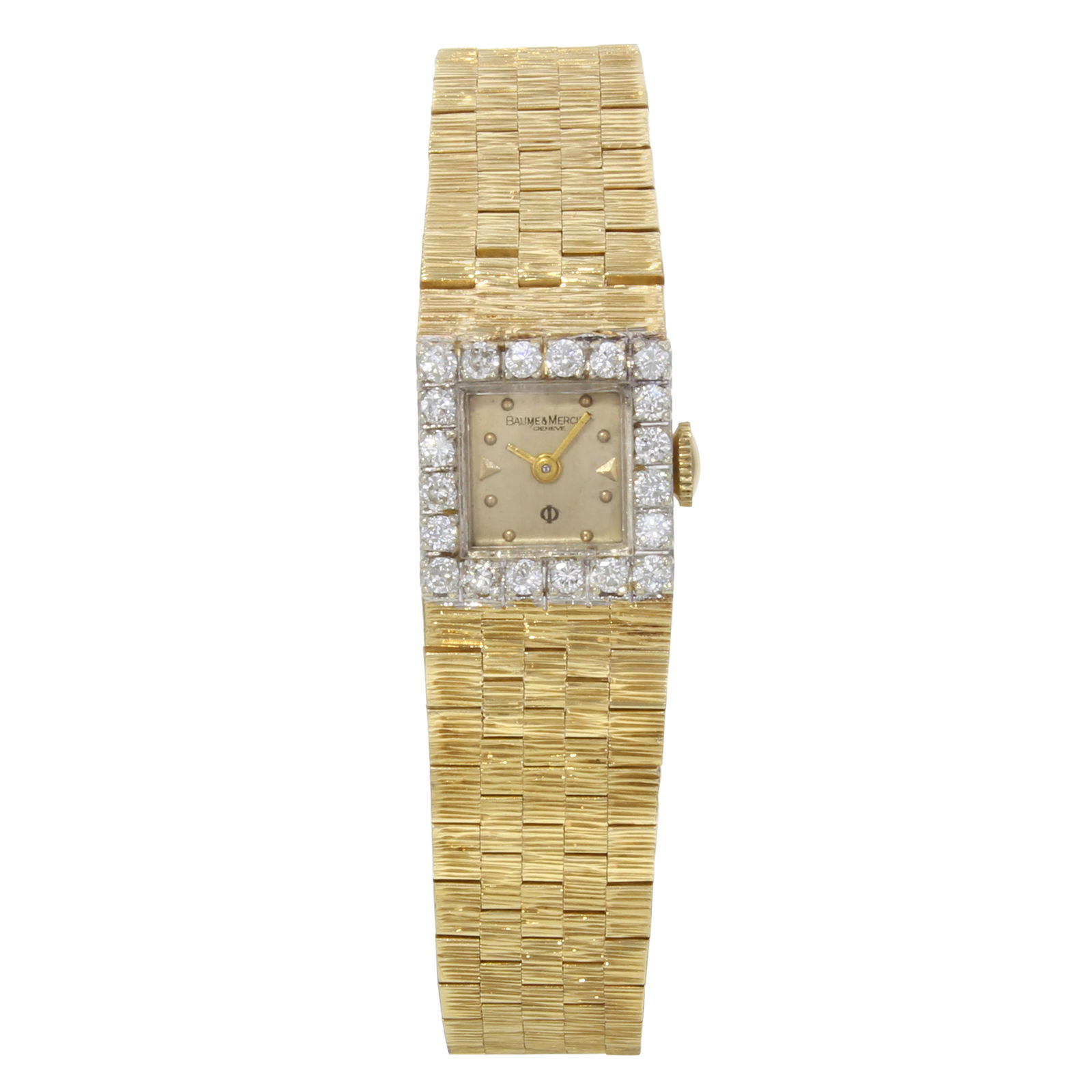 "Image of ""Baume & Mercier 14K Yellow Gold and Diamond Bezel 14mm Womens Watch"""