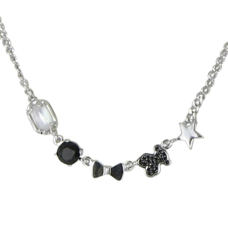 "Image of ""Tous 925 Sterling Silver Black Onyx Quartz Spinel Bear Choker Necklace"""