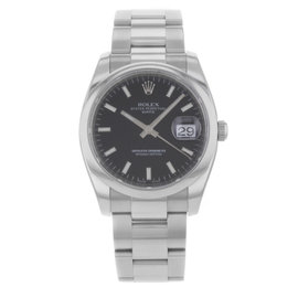 Rolex Date 115200 bkio Stainless Steel Black Dial Automatic 35mm Men's Watch
