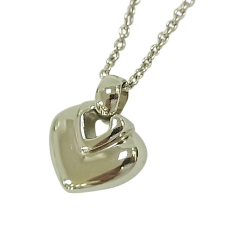 "Image of ""Bvugari Doppio Cuore 18K White Gold Heart Pendant Necklace"""