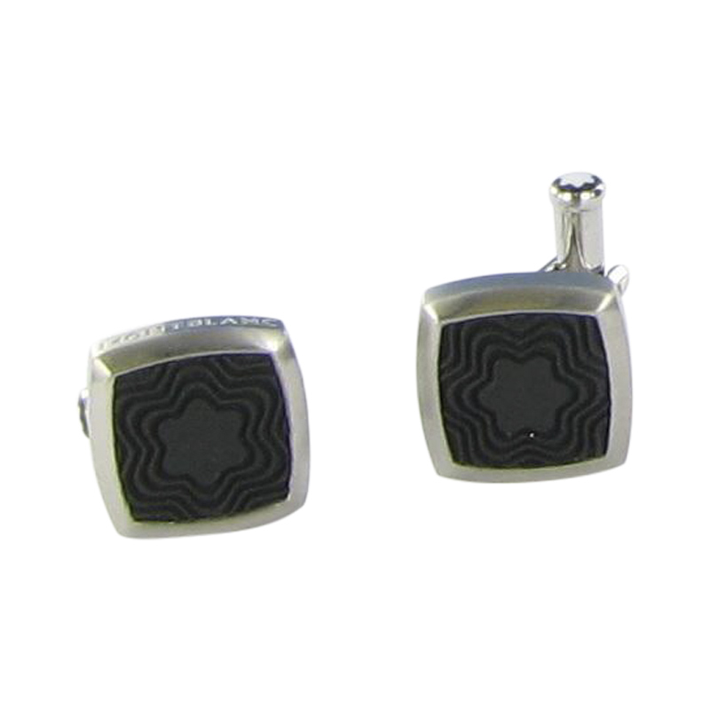 """Image of """"Montblanc Stainless Steel Black Rubber Square Cufflinks"""""""