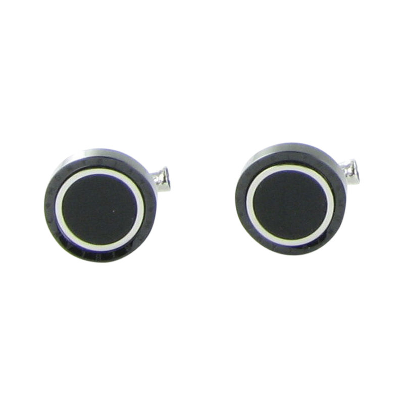 "Image of ""Montblanc Contemporary Stainless Steel Black PVD Onyx Cufflinks"""
