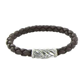 David Yurman Chevron 925 Sterling Silver Brown Leather Bracelet