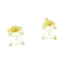 David Yurman Chatelaine 18K Yellow Gold Pearl Diamond Stud Earrings