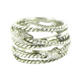David Yurman X Collection 925 Sterling Silver 0.11cts Diamond Ring Size 6