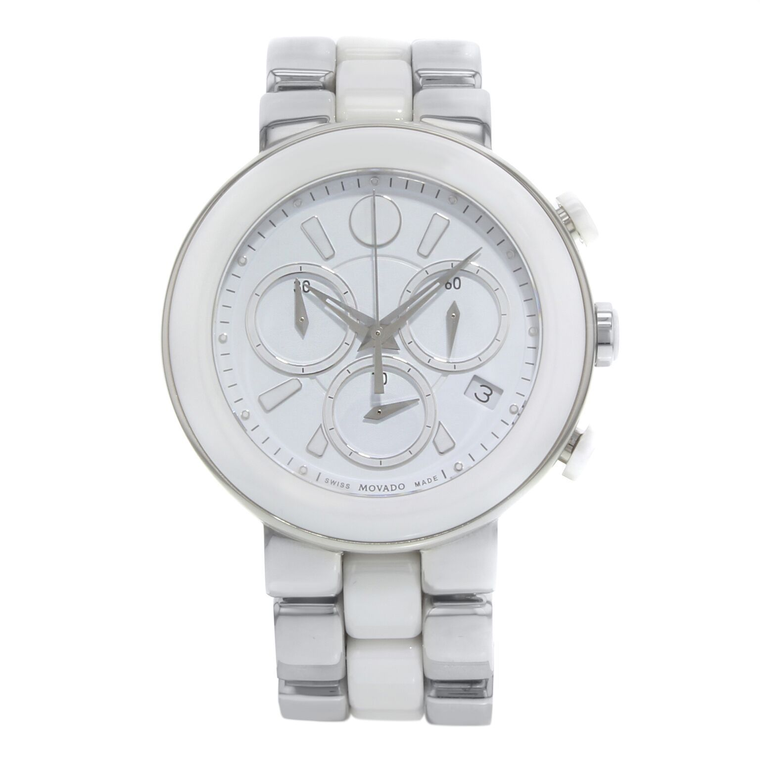 """Image of """"Movado Cerena 606758 Stainless Steel and White Ceramic 39mm Womens"""""""