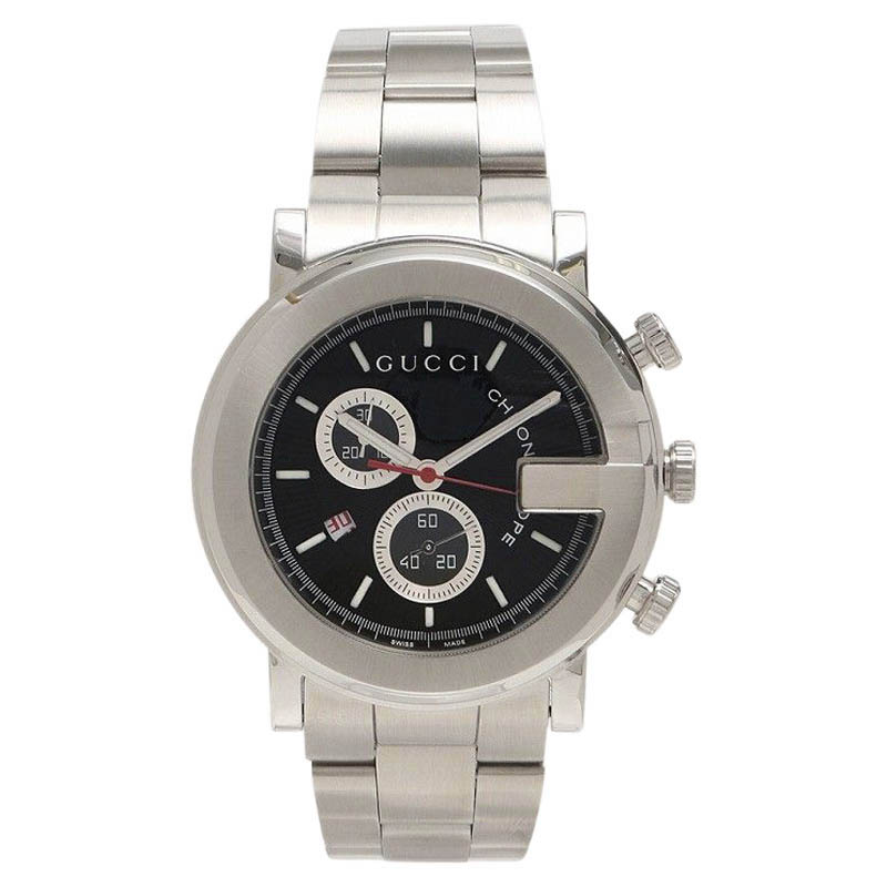 "Image of ""Gucci G Round Chronograph Ya101309/101M Stainless Steel with Black"""
