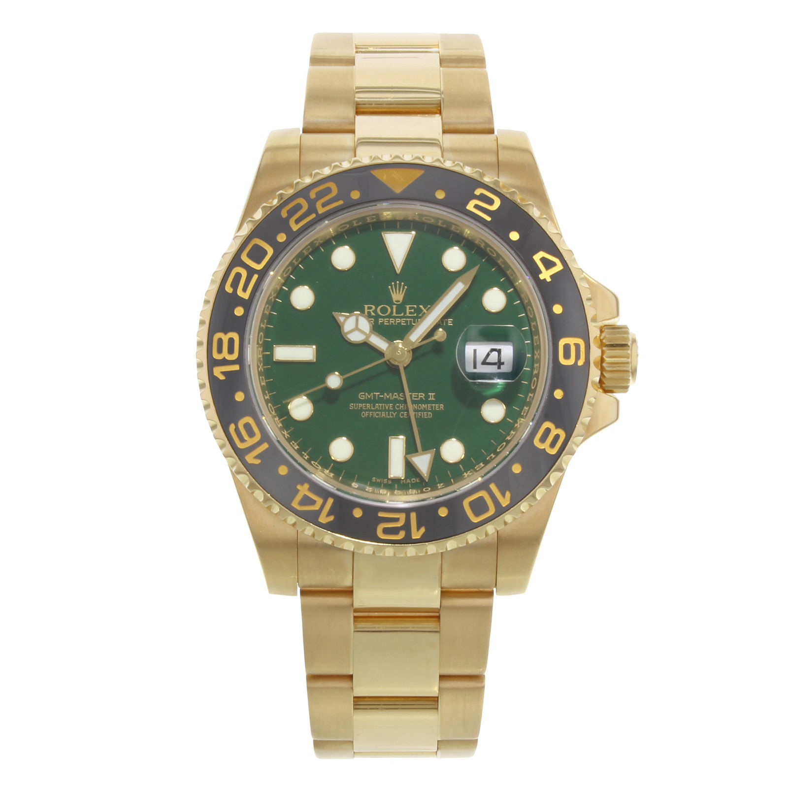 "Image of ""Rolex GMT-Master II 116718 18K Yellow Gold Green Dial Automatic 40mm"""