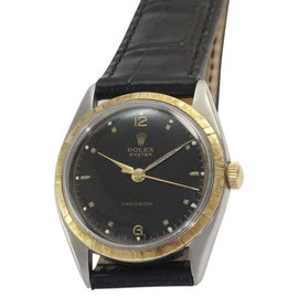 Rolex Oyster Precision 4365 Stainless Steel, Leather and 18K Yellow Gold Manual Vintage 33mm Mens Watch