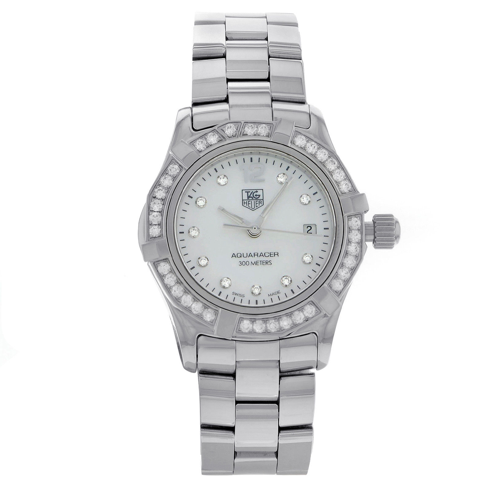 """Image of """"Tag Heuer Aquaracer Waf1416.ba0824 Stainless Steel with Diamonds"""""""