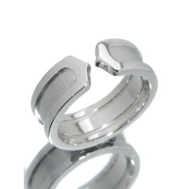 Cartier Double C C2 750 White Gold Ring Size 5.25
