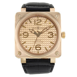 Bell & Ross Aviation BR0192-GOLD-INGOT 18K Rose Gold & Leather Automatic 46mm Mens Watch