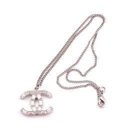 Chanel Silver Tone & Crystal CC 2 Way Pendant Necklace
