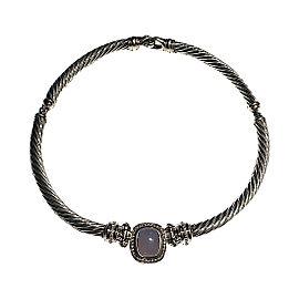 David Yurman 18K White Gold & Sterling Silver Blue Chalcedony & Diamonds Noblesse Necklace