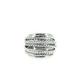David Yurman Sterling Silver 0.67tcw Diamond Dome Crossover Ring Size 8