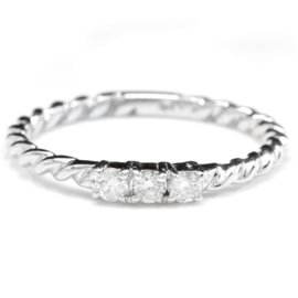 14K White Gold 0.15ct Natural Diamond Ring Size 6.5