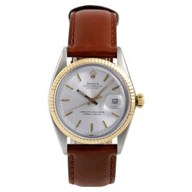 Rolex Two Tone Datejust Silver Stick Dial on Leather Strap Watch