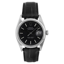 Rolex Stainless Steel Datejust Black Stick Dial on Leather Strap Watch