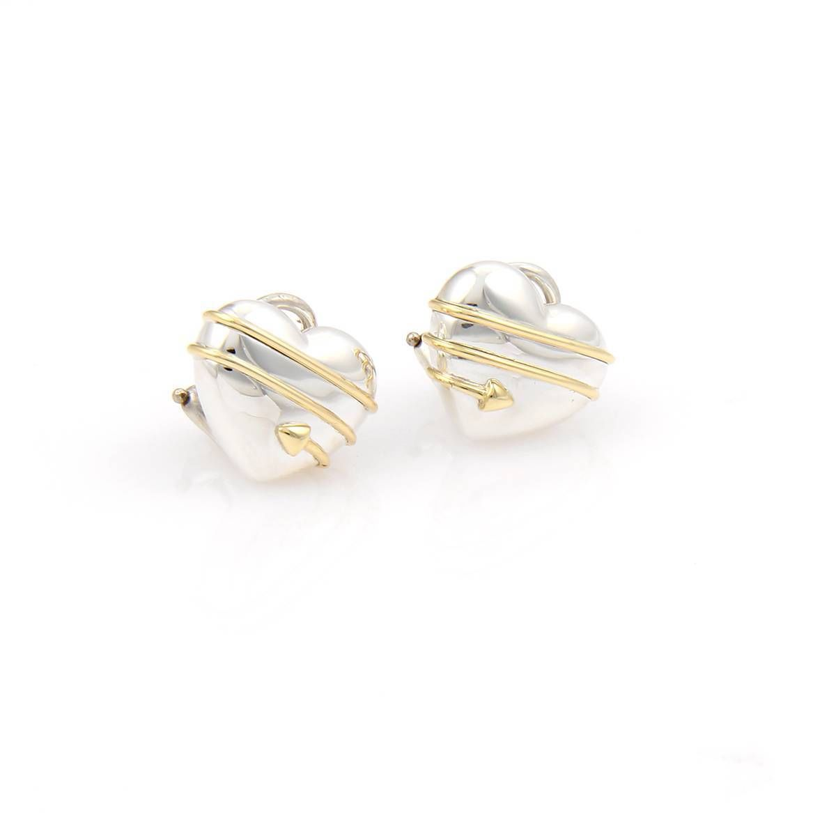 "Image of ""Tiffany & Co. 18K Yellow Gold & 925 Silver Cupid Arrow Heart Stud"""