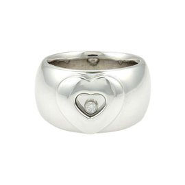 Chopard Happy Diamonds 18K White Gold Floating Diamond Heart Dome Band Ring