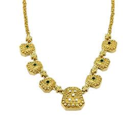 Estate 18K Yellow Gold Diamond & Cabochon Emerald Geometric Shape Necklace