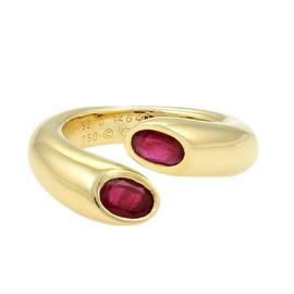Cartier 18k Y/Gold 1.20ctw Ruby Ellipse Deux Tetes Croisees Bypass Ring