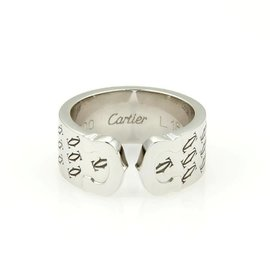 Cartier Double C 18K White Gold Band Ring