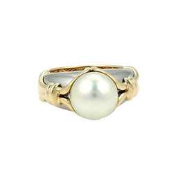Bulgari Bvlgari 18K Yellow & White Gold Akoya Pearl Ring