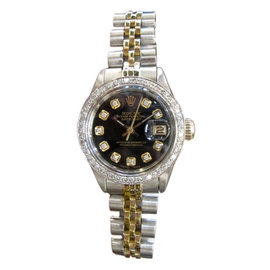 Rolex Oyster Perpetual Datejust Diamonds Black Dial 25mm Vintage Womens Watch