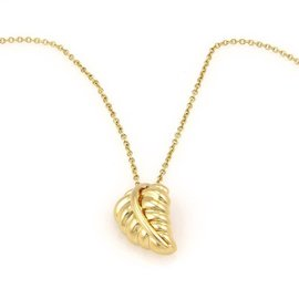 Tiffany & Co. 18K Yellow Gold Designer Leaf Pendant Necklace