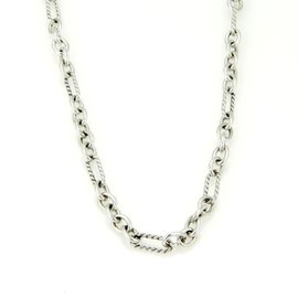 David Yurman 925 Silver 18K Y/Gold Cable Wire Chain