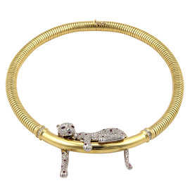 H. Stern 18K Yellow Gold Pave Diamond and Ruby Panther Necklace