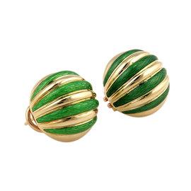 Tiffany & Co. 18K Yellow Gold Green Enamel Circular Huggie Earrings