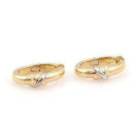 Cartier 18K Tri Color Gold Trinity Clip On Hoop Earrings