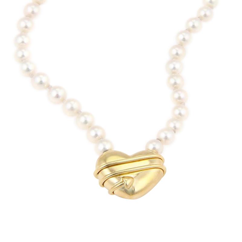 "Image of ""Tiffany & Co. 18K Yellow Gold Cupid Arrow Heart Pendant Pearl"""
