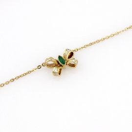 Cartier 18K Yellow Gold Emerald Cabochon Diamond Bow Tie Pendant Necklace