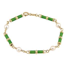 Tiffany & Co. 18K Yellow Gold Green Enamel & Pearls Bracelet