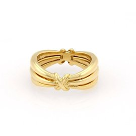VCA Van Cleef & Arpels 18K Yellow Gold Triple Row X Band