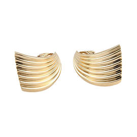 Vintage Cartier 14K Yellow Gold Fluted Clip-On Designer Earrings