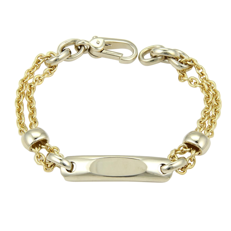 "Image of ""Pomellato 18k Two Tone ID Tag Double Chain Link Bracelet"""