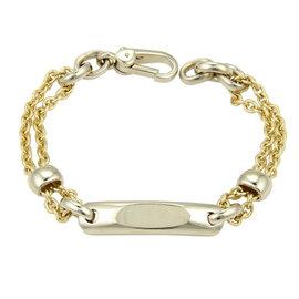 Pomellato 18k Two Tone ID Tag Double Chain Link Bracelet
