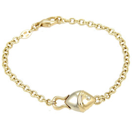 Bvlgari Solid 18K Yellow & White Gold Fish Chain Link Bracelet