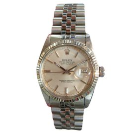 Rolex Oyster Perpetual Datejust Stainless Steel White Gold Watch