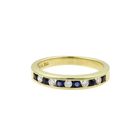 Tiffany & Co. 18K Yellow Gold Diamonds & Sapphire Band Ring