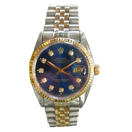 Rolex Oyster Perpetual Datejust Diamond Dial Stainless Steel & Yellow Gold Watch