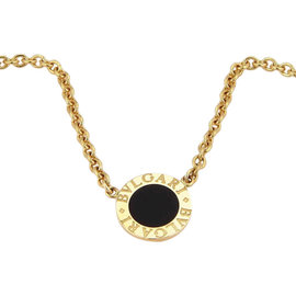 Bulgari 18K Yellow Gold Circular Onyx Pendant Necklace