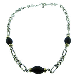 David Yurman Sterling Silver 18K Yellow Gold Black Onyx Necklace