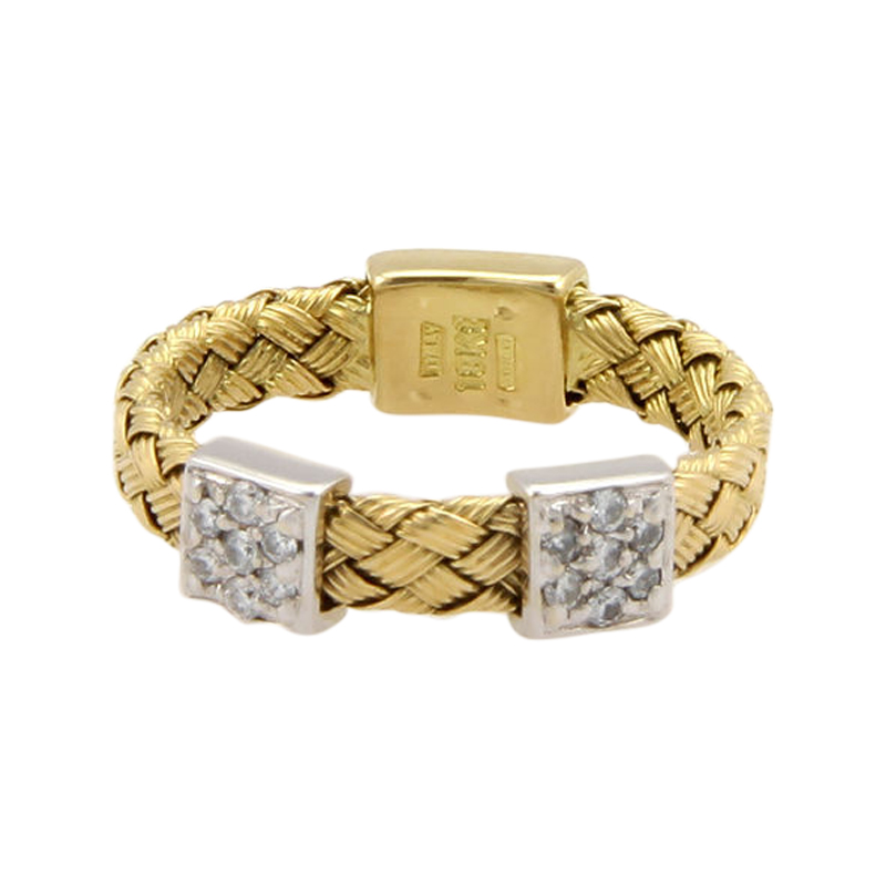 "Image of ""Roberto Coin 18K 2-Tone Gold Woven Diamond Band Ring"""